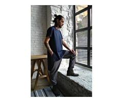 Мужская туника из натурального льна, льняная футболка