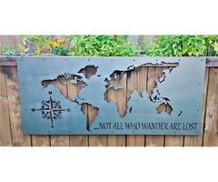 Карта мира метал 1мм