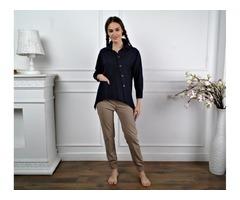 Женская льняная рубашка, туника из льна, льняная блузка для офиса