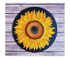 Стринг арт подсолнух, картина цветок, соняшник декор, картина подсолнух