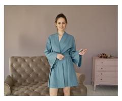 Элегантный халатик из льна, льняной женский халат, халат кимоно