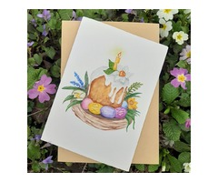 Пасхальная акварельная открытка Handmade