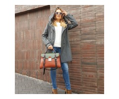 Женская кожаная сумка-саквояж Винтаж